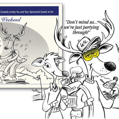 Party invitation for a Country Club with a deer invasion-if you can't lick 'em, join'em!