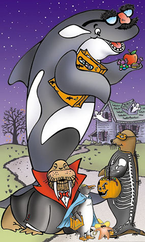 Sea World-Time Warner Halloween Illustration
